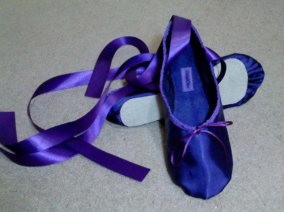 Purple Satin Ballet Slippers  Full Sole by GrandGear on Etsy, $30.00