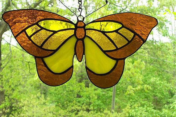 Stained Glass Butterfly in Yellows-SOLD please contact us if you would like to special order.