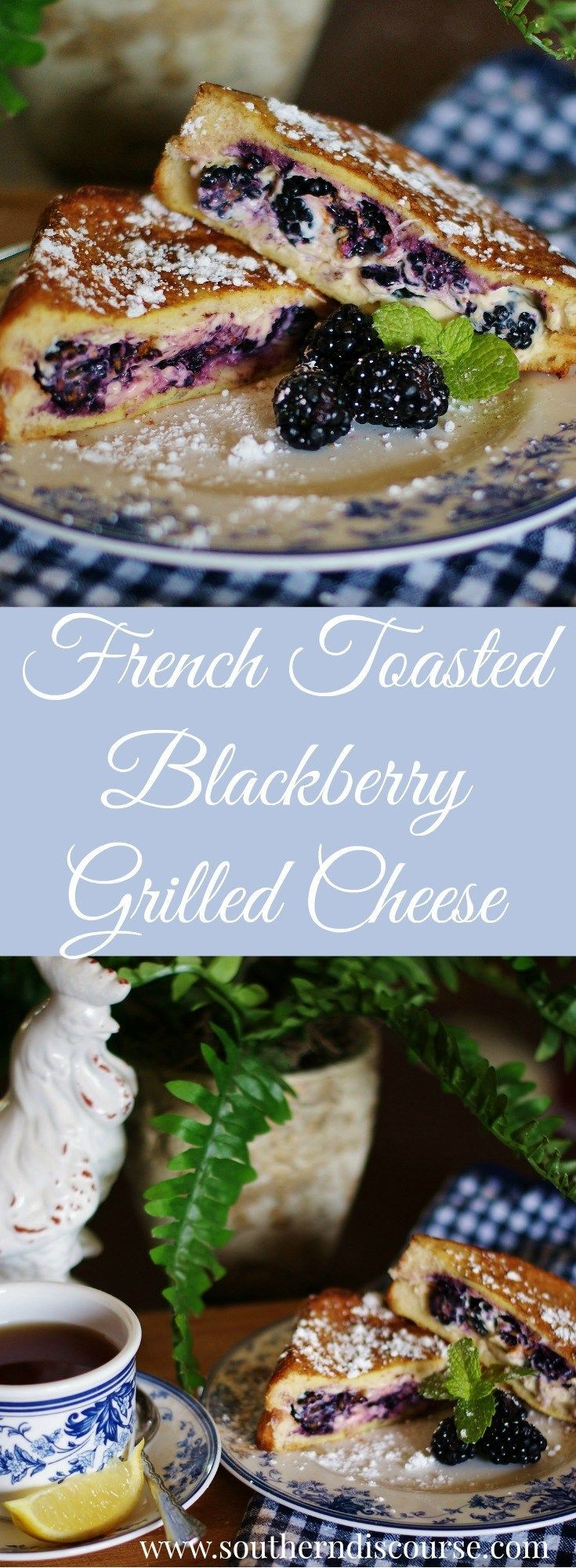 Blackberries and cream cheese or Fontina french toasted to create the perfect breakfast or brunch grilled cheese.