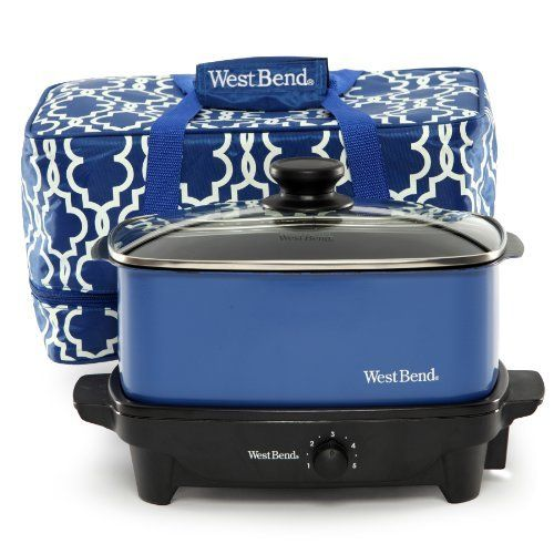 West Bend 84915B Versatility Slow Cooker with Insulated Tote and Transport Lid, 5-Quart, Blue by West Bend