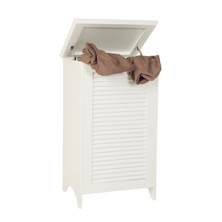 Howards storage world white wooden hamper will it fit in the extra space material s wood - Laundry hampers for small spaces plan ...