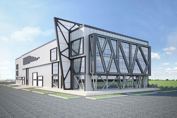 Exterior Factory Building  3D model of a building  #aluminum