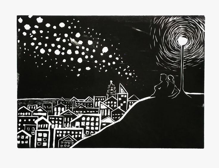 A woodblock print I made earlier this year for my visual art unit. I only did a small run of this print as the ink was poor quality and kept going everywhere/smudging, and in the end only three were good enough to keep. I