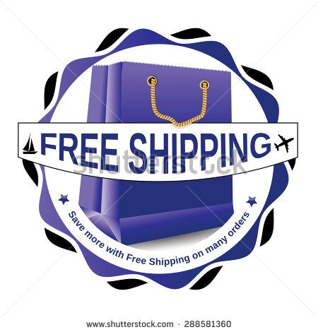 Free shipping blue sticker / label vector illustration for print. Contains a big gift / present bag. Pantone coated colors used.