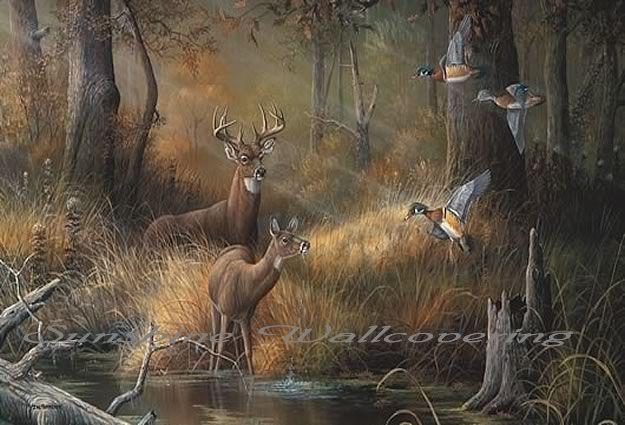 Wildlife murals wall murals full wall murals for Duck hunting mural