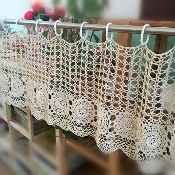Handmade Coffee Curtain, crocheted door curtain, cotton cutwork curtain, crochet pattern window treatment for home decor
