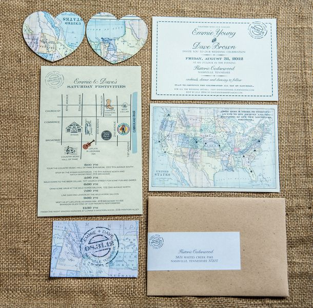 Wedding Invitations With Maps: Map Themed Wedding Invitation