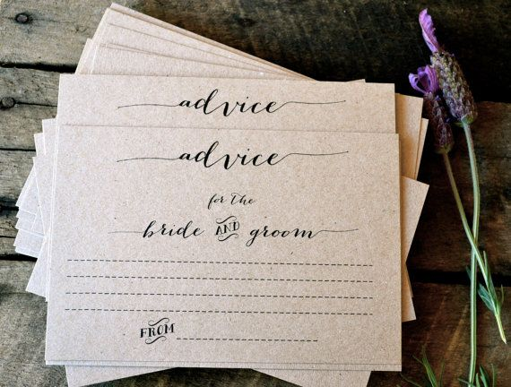 Specifications: La Pomme et la Pipes signature design rustic, unique and super chic Advice for the Bride and Groom Cards! Made from my trademark