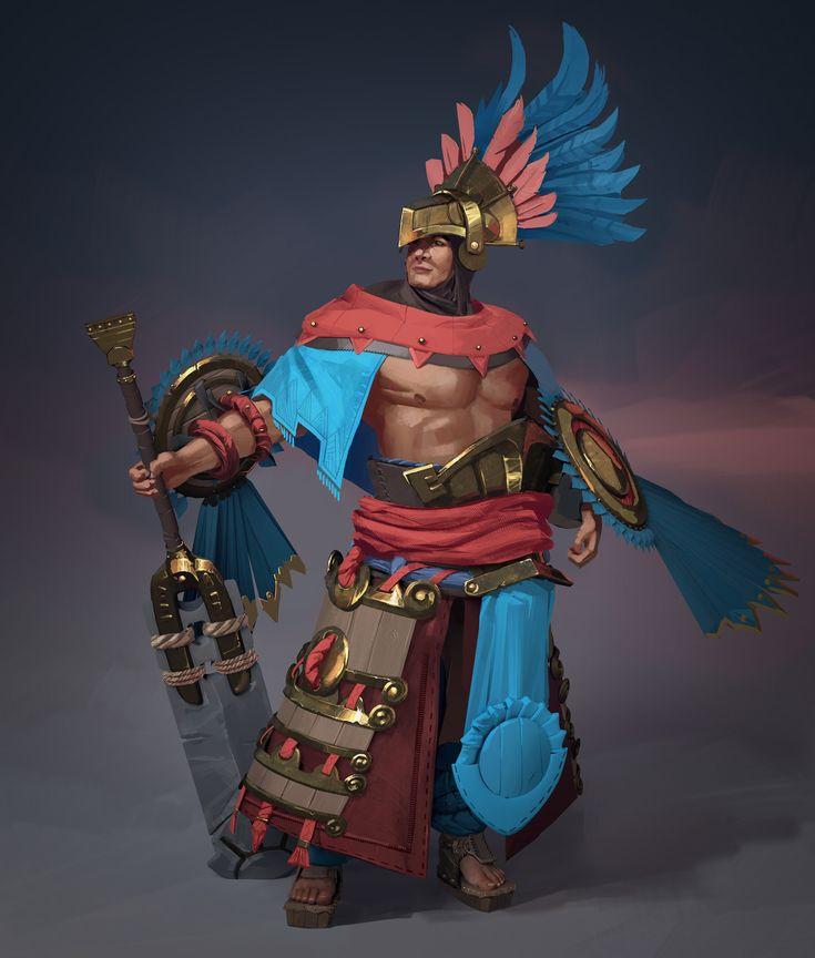Aztec Warrior , Artem Cheshirsky on ArtStation at https://www.artstation.com/artwork/Nelez