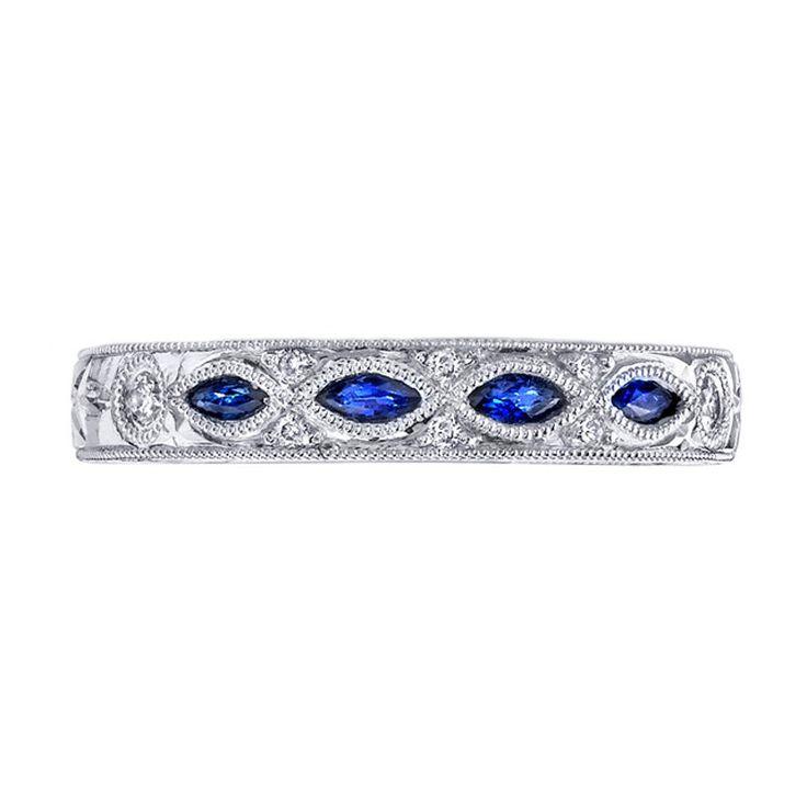 Buy Online .925 Silver 14K White Gp Marquise Cut Blue Sapphire Wedding Band Ring #br925 #WeddingBand