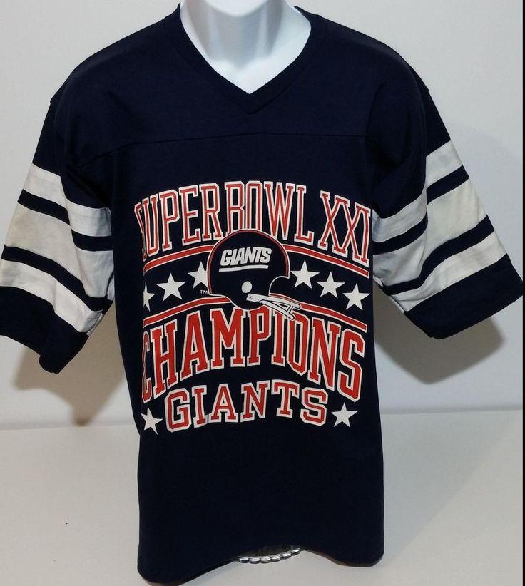 NY New York Giants VTG 80s 1987 Super Bowl XXI 21 Logo 7 V-Neck T Shirt Mens L #Logo7 #NewYorkGiants