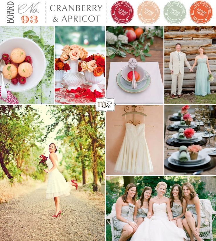 Ice green, cranberry and apricot wedding inspiration board