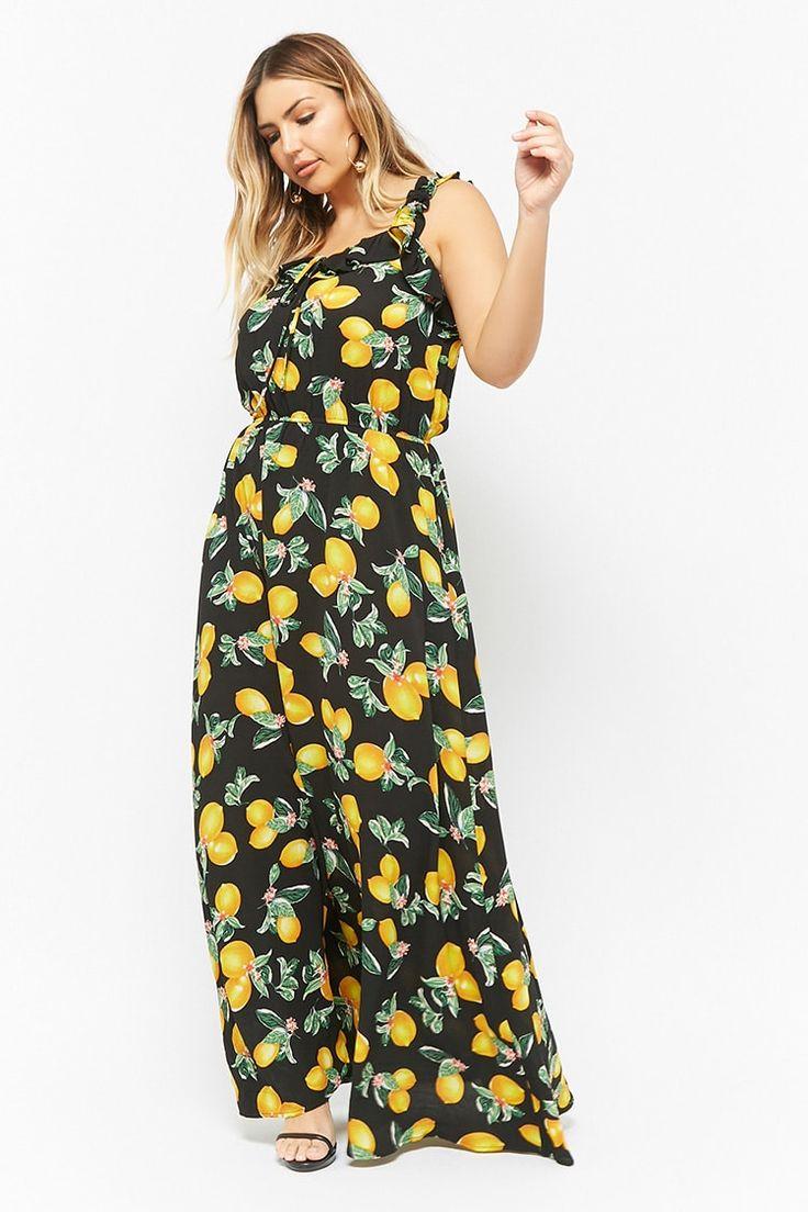 Plus Size ETA Lemon Print Ruffle-Trim Maxi Dress