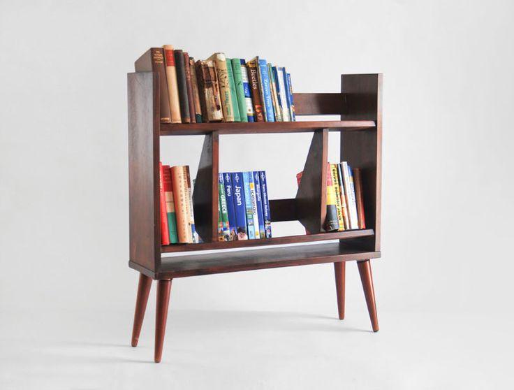 mid century wooden book case modern storage retro shelf