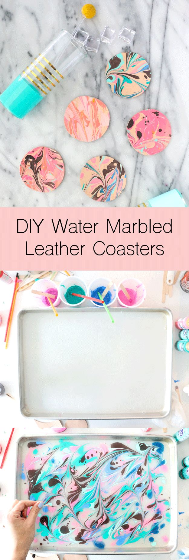 DIY Water Marbled Leather Coasters - A Kailo Chic LifeDIY-Water-Marbled-Leather-...