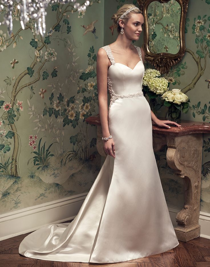 Lovely Casablanca Style Fall is a Sophisticated Satin Fit u Flare A Line Gown with a Sweetheart Neckline Elaborately Beaded Tank Straps Satin Fitted