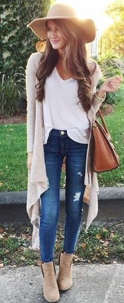 Waterfall Hooded Cardigan + White V-Neck Tee + Jeans                                                                             Source