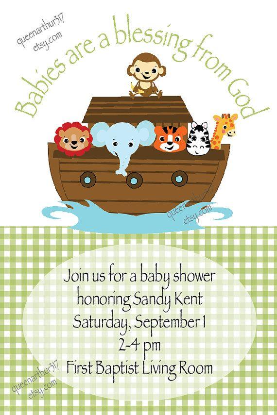 Noahu0027s Ark Baby Shower Invitations   Boy/Girl Custom Noahu0027s Ark Baby Shower  Invitation