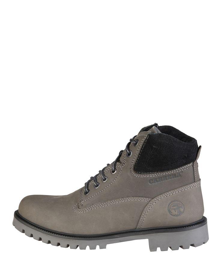 Carrera jeans - scarponcini invernali in nabuk per uomo carrera jeans, con collarino imbottito e fondo pesante. - stival - Stivaletto uomo  Grigio