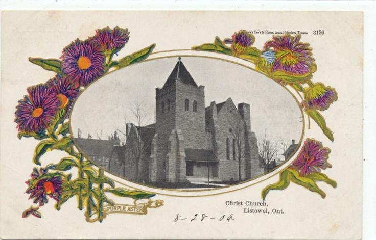 ONTARIO POSTCARD, CANADA, LISTOWEL, CHRIST CHURCH, 1906, PURPLE ASTER | eBay