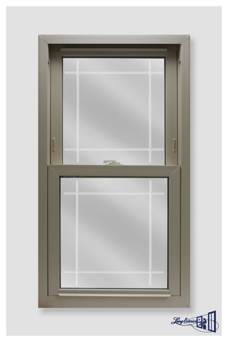 PowerWeld 1600 Series Beige Double Hung with a Prairie V-Groove Glass.  #replacementwindows #langexterior #powerweld #vinylwindows #doublehung #windows #etchedglass #vgroove #prairie #beige