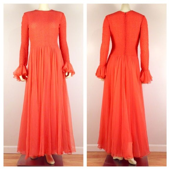 "⚫️VINTAGE 70s CORAL FORMAL DRESS RARE RARE vintage 60s-70s neon coral formal / #prom dress. F/ stretchy semi-sheer puckered bodice & sleeves, dropped waist, full #chiffon skirt w/ huge sweep, belled & ruffled chiffon cuffs, coral rayon slip, & rear zipper. Great vintage condition. Classic neon coral color is even brighter & more vibrant than pics show. No tags. Fits like a 6. Shoulders:14"". Pit to pit:18""+stretch. Sleeve:25"". Waist:32"". Shoulder to waist length:17"". Length:58.5""20% OFF…"