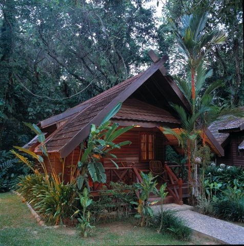 Chalet in Taman Negara National Park, Malaysia, the verandah offers the perfect jungle view and is great for chilling after a jungle-walk!