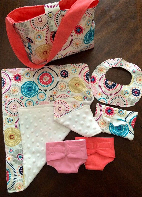 Baby doll Diaper bag set - cloth diapers, wipe case with sipes inside, burp cloth, bib and a blanket
