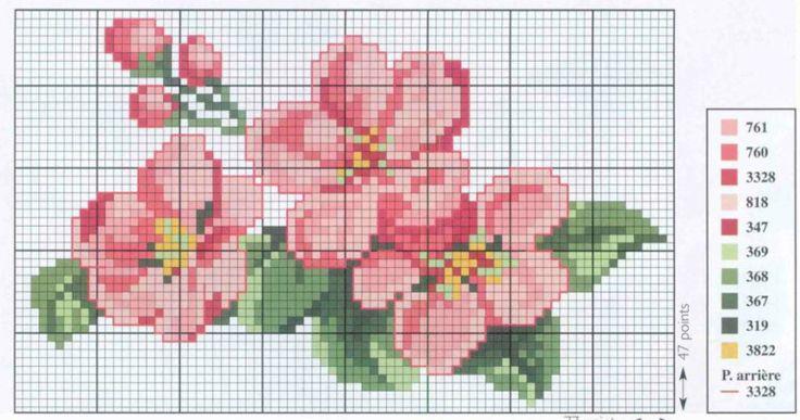 Cross stitch - flowers: Apple blossom (free pattern - chart - part 1)
