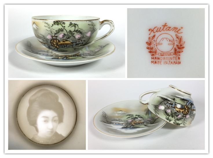 """Kutani Hand Painted Made in Japan cup and saucer. The """"ghost geisha"""" lithophane was popular during 1930 to early 1960s. This cup and saucer most likely around 1950."""