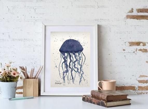 Jellyfish Wall Art Ocean Watercolour Painting Etsy Jellyfish Wall Art Watercolor Painting Etsy Painting