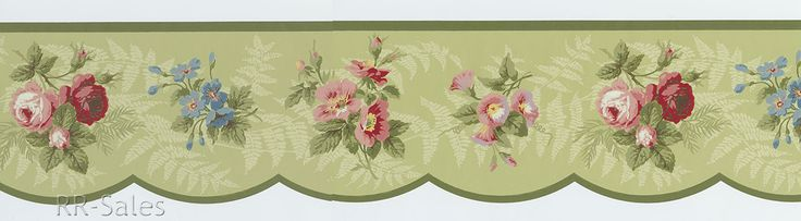 Woodland Rose Scalloped Ferns Flower Boquets 2 Rolls 30 Feet Wallpaper Border | eBay