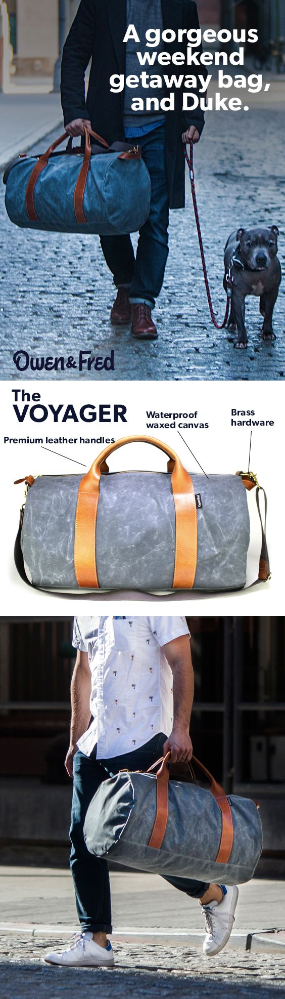 Introducing the Voyager Waxed Canvas weekend bag, with premium leather. All USA-made, perfectly sized and gorgeous.