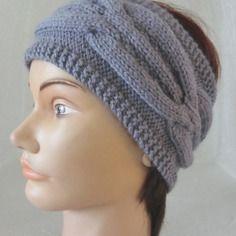 Bandeau - headband  femme en laine point fantaisie et torsades tricoté à la main