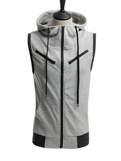 Zippered Drawstring Contrast Trim Sleeveless Hoodie #women, #men, #hats, #watches, #belts, #fashion, #style