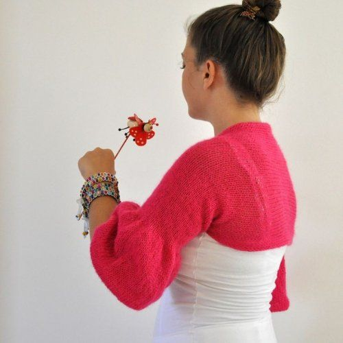 Handmade Pink Balloon Sleeved Shrug / Bolero - Bridal Shrug