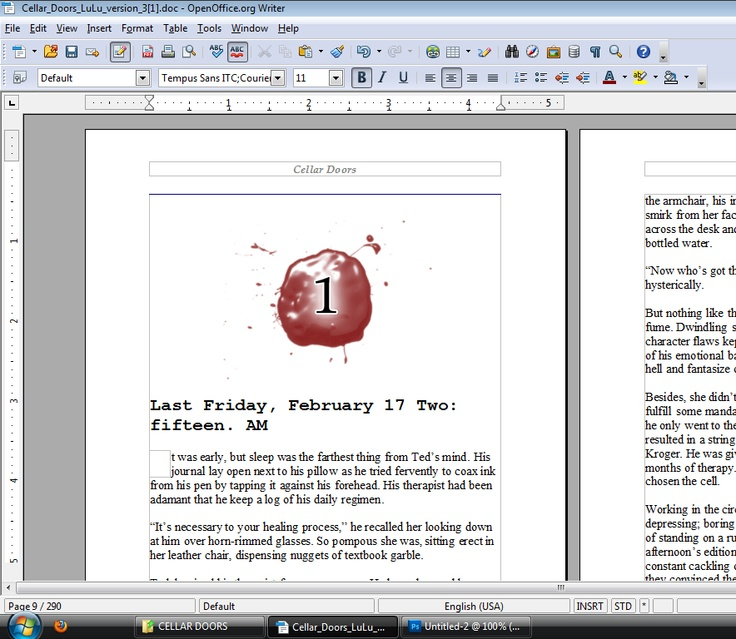 Ryan came up this idea to 'dress up' the chapter headers. The bloodied version would be eye-catching with ebooks, where colors could be introduced.