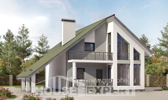 170-009-Л Проект двухэтажного дома с мансардой и гаражом, красивый домик из теплоблока