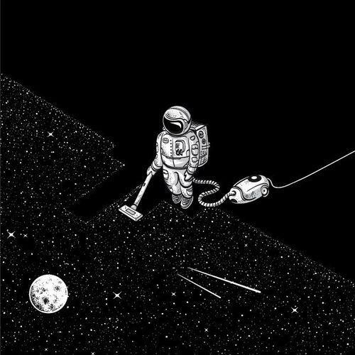 trippy drugs moon night psychedelic space stars dark universe darkness Psychedelic art astronaut fu