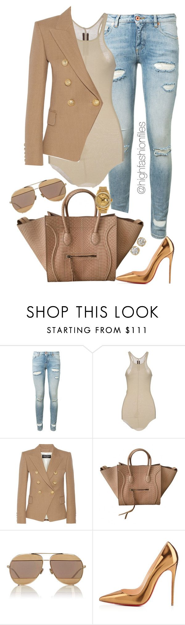 """""""Like Clock Work"""" by highfashionfiles ❤ liked on Polyvore featuring Off-White, Rick Owens, Balmain, Christian Dior, Christian Louboutin, Rolex and Hoorsenbuhs"""