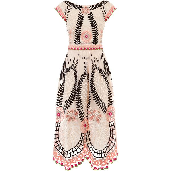 Temperley London Midi Belle Dress ($2,680) ❤ liked on Polyvore featuring dresses, shell mix, a line cocktail dress, midi dress, sheer dress, a line dress and summer dresses