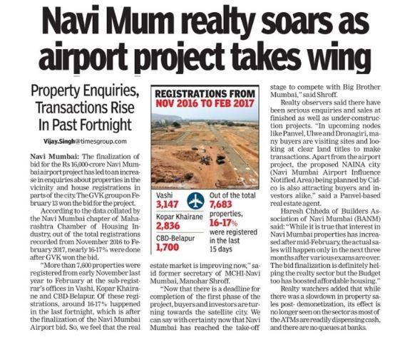 As seen in The Times of India- Navi Mumbai Navi Mum realty soars as airport project takes wing. Property Enquiries, Transactions Rise In Past Fortnight www.paradisegroup.co.in #ParadiseGroup #RealEstate #NaviMumbai #Media #Newspaper #NaviMumbaiInternationalAirport #TOI