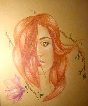 Kreslenie :: Zirnitra - autorský šperk, farebná kresba na tónovanom papiery, tvár ženy s magnóliou.