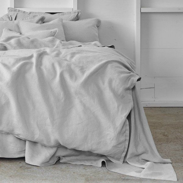 Pure Linen Bed Sheet Set in Dove | Queen  Sheets On The Line - 1