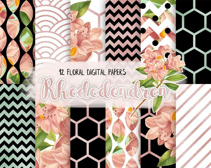 Floral Digital Paper Pack,Black and White, Rose Gold, Rhododendron Flower, Peach and Mint, Modern Pattern, Scrapbooking Paper by CamDoodleArt on Etsy