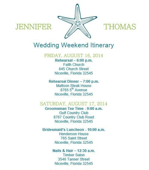 19 best Wedding itinerary images on Pinterest Wedding itineraries - birthday itinerary template