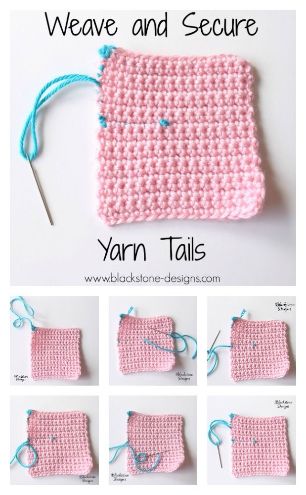 Tutorial for weaving in yarn tails at the end of your projects from Blackstone Designs  #crochet #knit #tips #tricks #tutorials #weaveinends