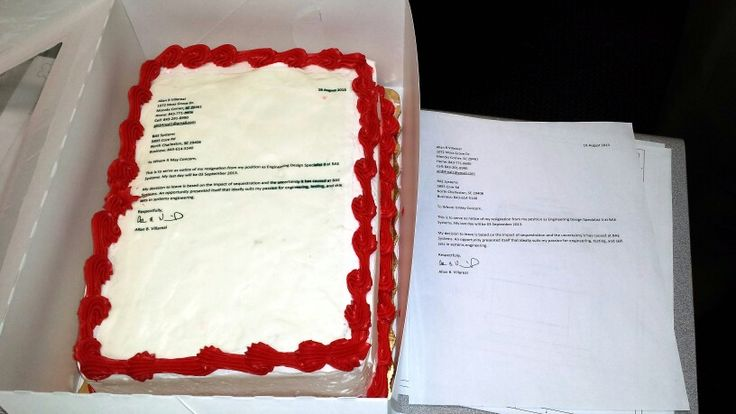 A Newscast Director Quit By Printing His Resignation Letter On A - resignation letter cake