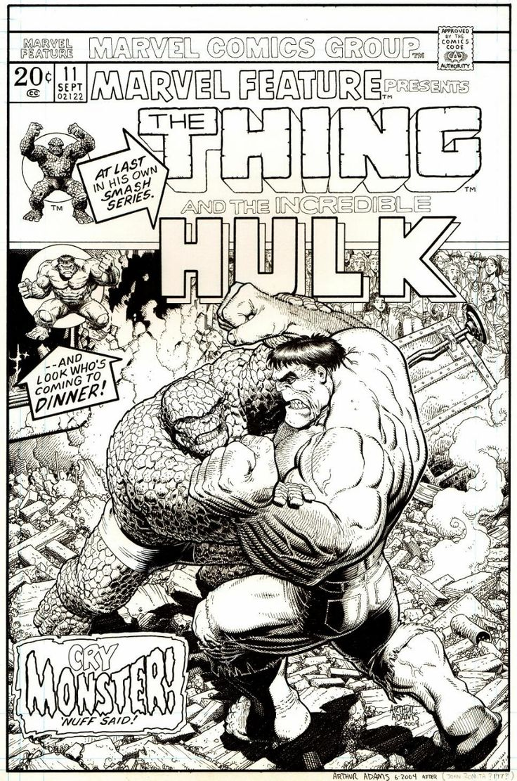 Marvel Feature #11 recreation - The Thing vs. The Hulk by Arthur Adams (based on a John Romita Sr. cover) *