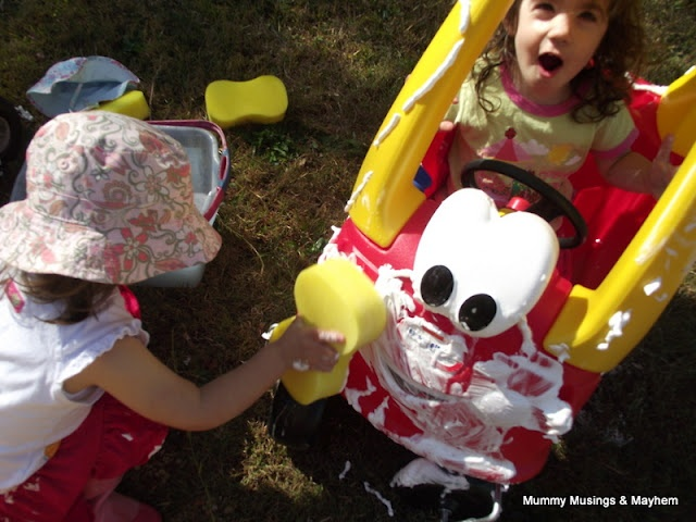 Car Washing Toddler Style! An easy outdoor activity for toddlers to encourage those 'helping' skills!